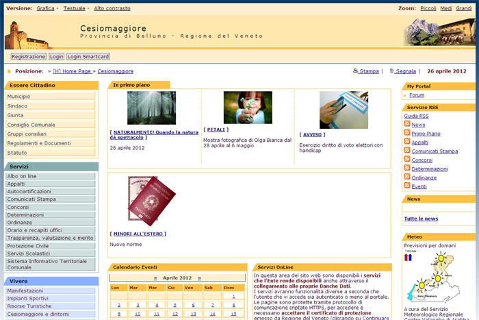 Il sito internet del Comune di Cesiomaggiore