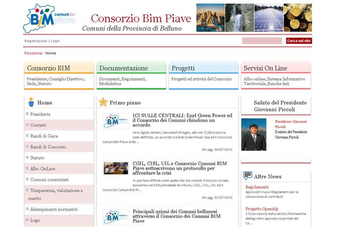 Il sito web del Consorzio Comuni Bim Piave di Belluno