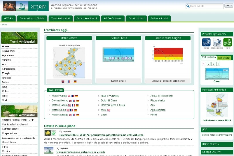 Il sito internet dell'Agenzia Regionale per la Prevenzione e Protezione Ambientale del Veneto