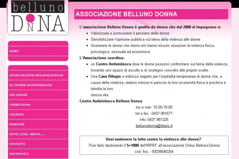 Il sito internet dell'Associazione Belluno Donna