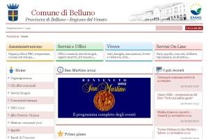 Il sito internet del Comune di Belluno