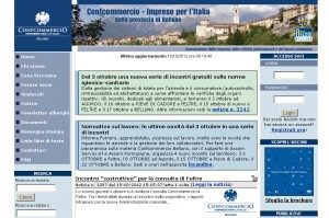 Il sito internet di Confcommercio Belluno