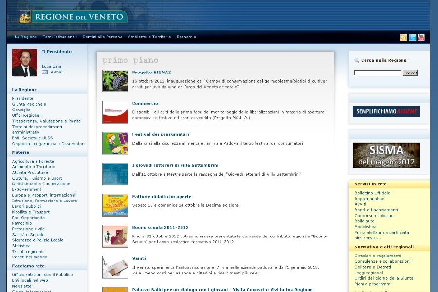 Il sito internet della Regione Veneto