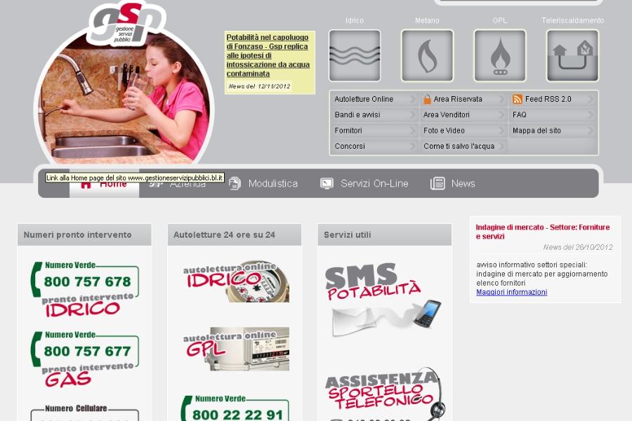 Il sito internet di Gestione Servizi Pubblici