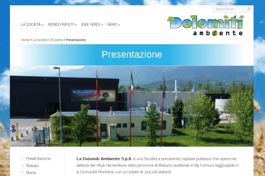 Il sito internet di Dolomiti Ambiente