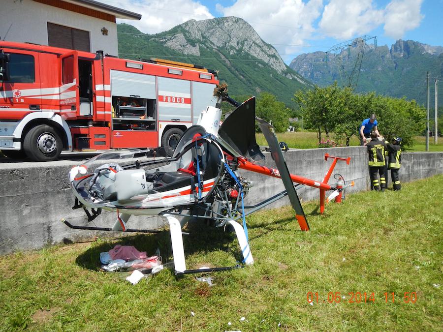 Elicottero Ultraleggero : Cade elicottero a sospirolo due feriti gobelluno notizie